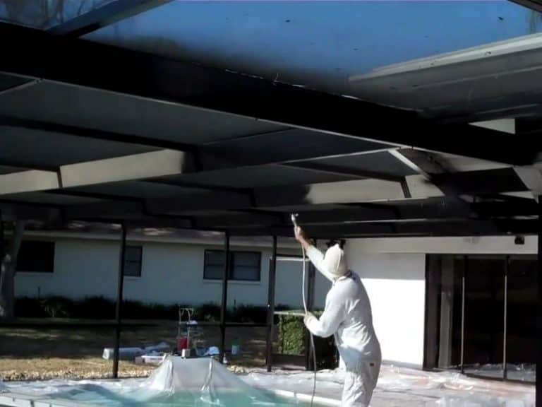 Repainting the pool cage frame