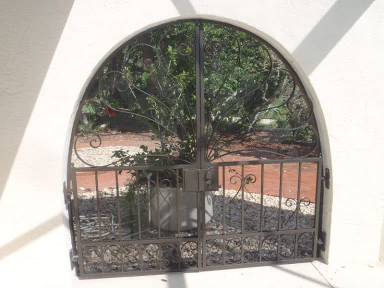 Repainted aluminum entry gate
