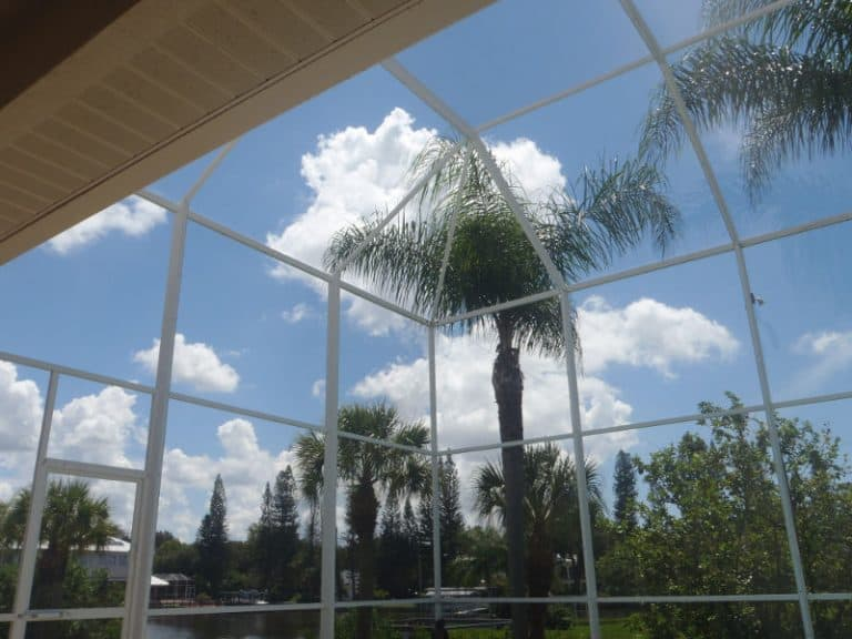 View from inside a high pool cage