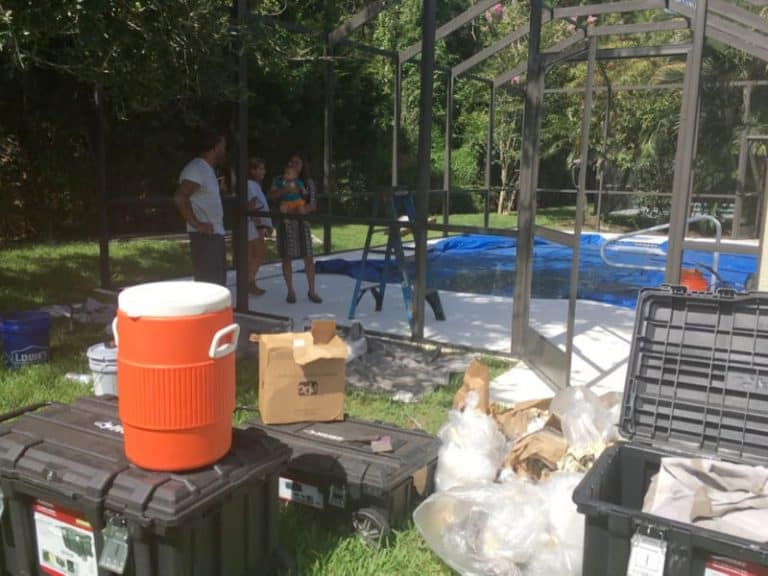 Osprey Pro Screen on the job of a pool cage restoration