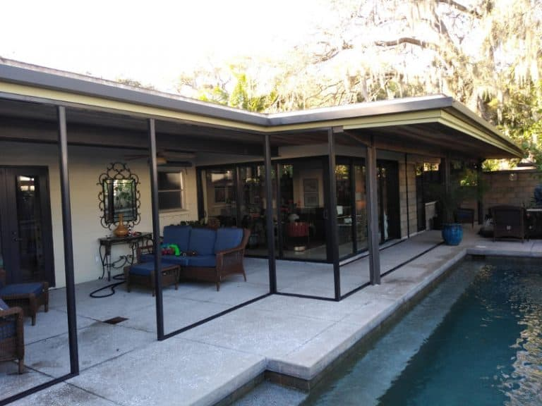 Metal for screen enclosure added to patio