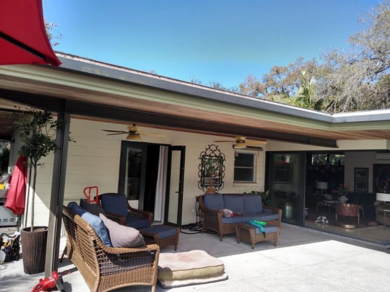 Patio with partial overhang